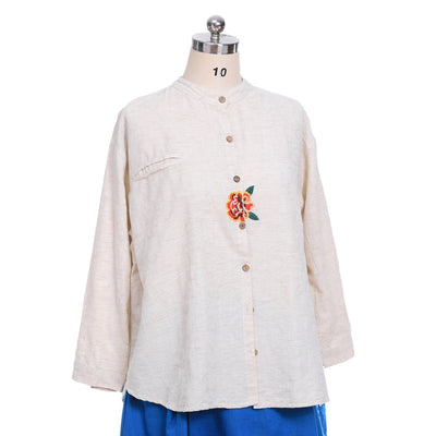 Long Waistcoat And Embroidery Shirt For Women
