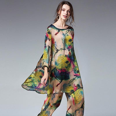 Plus Size Loose Floral Shirt And Wide Leg Pants