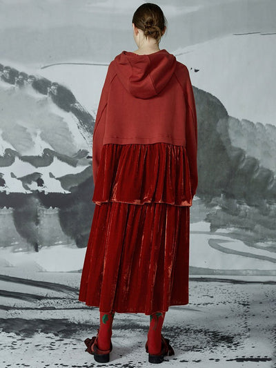 Autumn Spliced Crimson Sweatshirt And Calf Skirt