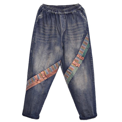 Oblique Patchwork Frog Casual Wild Jeans