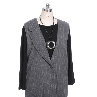 One Button Sleeveless Coat Women Style