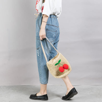 Patchwork Frayed Burr Pockets Casual Jeans