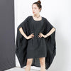 Personality Cloak Sleeve Pure Color Dress