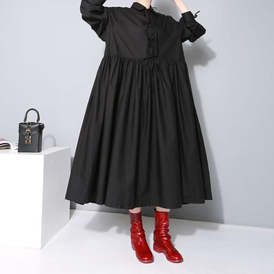 Peter Pan Collar Solid Color Loose Dress