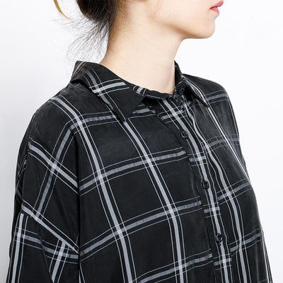 Plaid Casual Loose Drawstring Black Overall
