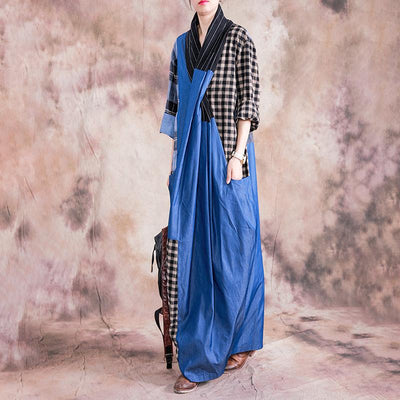 Plaid Spliced Color Matching Casual Dress