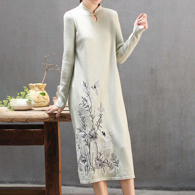 Plant Embroidery Elegant Stand Collar Dress