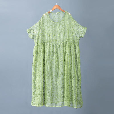 Plant Embroidery Perspective Tie-Dyed Charming Dress