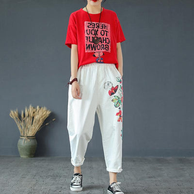 Plant Printed And Frayed Casual Harem Pants