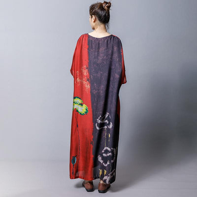 Plant Printed Soft Comfortable Gauzy Dress
