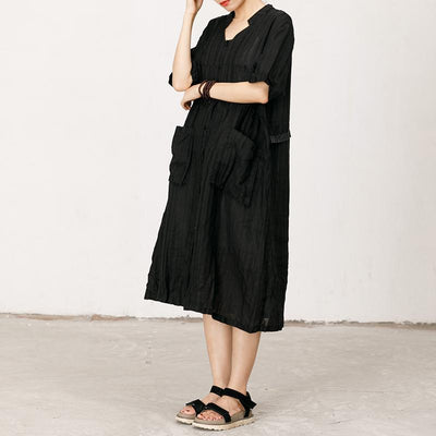 Pleated And Striped Casual Loose Dress