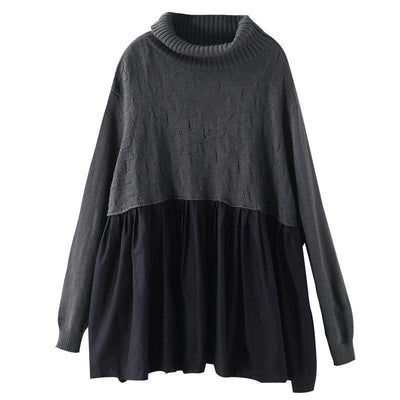 Pleated Spliced Solid Color Pullover Blouse