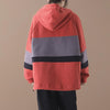 Plus Size - Color-blocking Stripes Casual Loose Hoodie