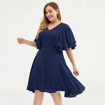 Plus Size Butterfly Sleeve Multi-Layer Midi Dress