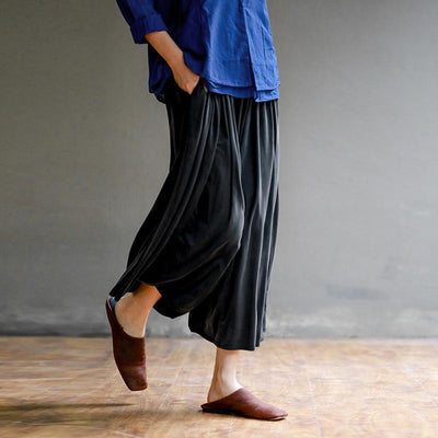 Plus Size Pure Color High Waist Straight Casual Pants