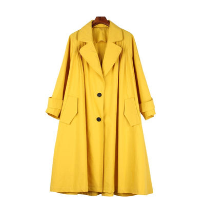Plus Size Solid Color Lapel Collar Female Coat