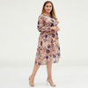 Plus Size Women Floral Chiffon Midi Maxi Dress With Belt