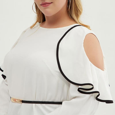 Plus Size Women Hollowed-out Lace Shoulder Top