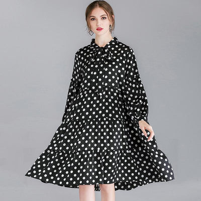Polka Dot Lacing Spliced Casual A-Line Dress
