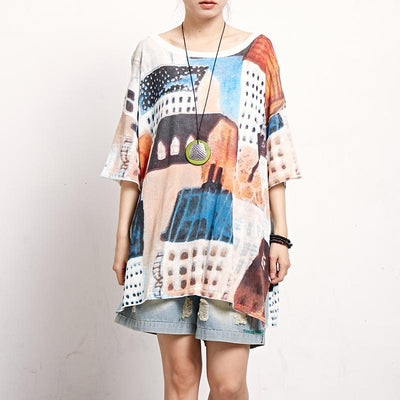 Print Short Sleeve Round Neck Casual Blouse