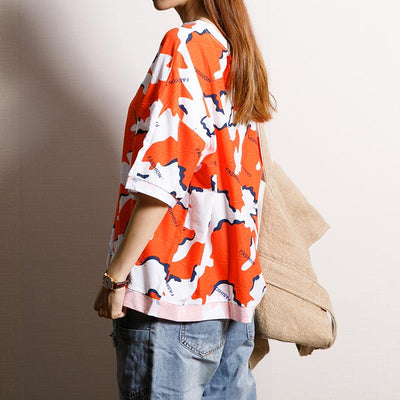Printed And Spliced Casual Sweet T-Shirt