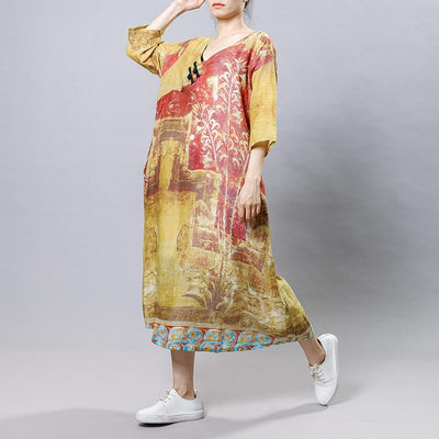 Printed Frog V-Neck Chinese Style Dress