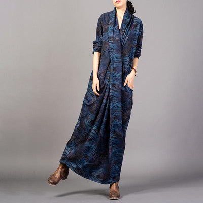 Printed Split Hem Retro Loose Dress