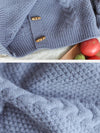 Pure Color Casual Olive Buckle Sweater