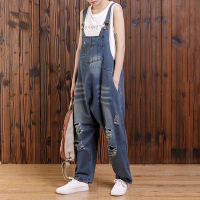 Pure Color Hole Loose Casual Jumpsuit