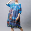 Ramie Print Vintage Round Neck Short Sleeve Dress