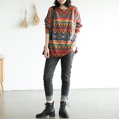 Retro Casual Autumn Printed O-neck Sweater