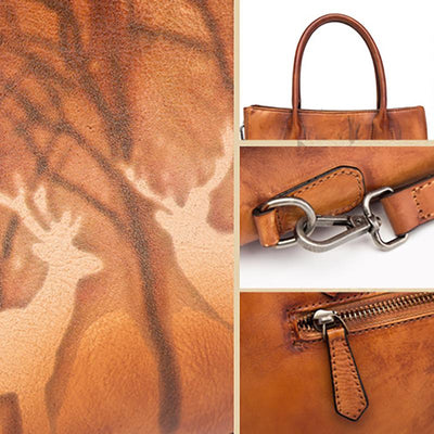 Retro Deer Print Women Classic Shoulder Bag