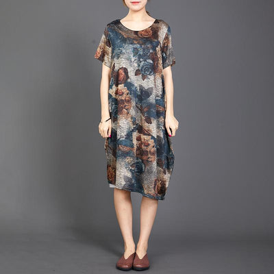 Retro Flower Soft Elegant Loose Dress
