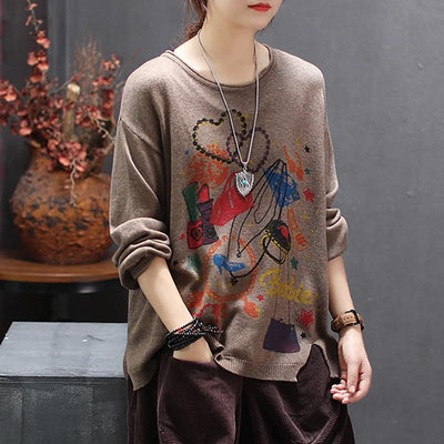 Retro Print Round Neck Pullover Knit Shirt