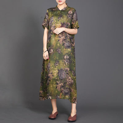 Retro Print Short Sleeve Chinese Style Long Dress