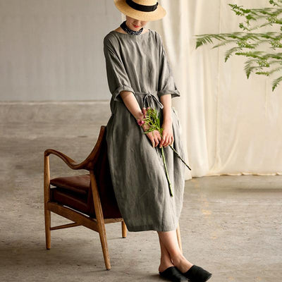 Retro Soft Breathable Solid Color Dress