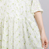 Round Neck Print Floral Pleated Short Sleeve Dress