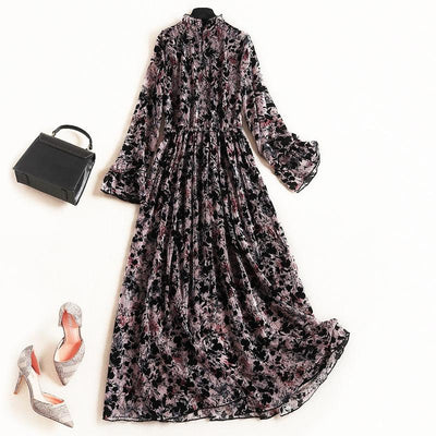 Ruffle-Neck Floral Printed Long Sleeve Maxi Dress