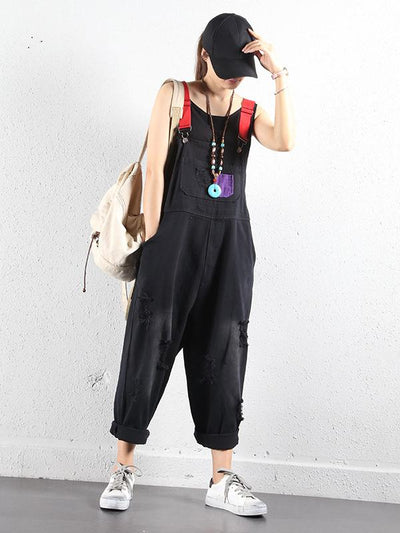 SOLID FRAYED HOLES SUSPENDER JUMPSUITS