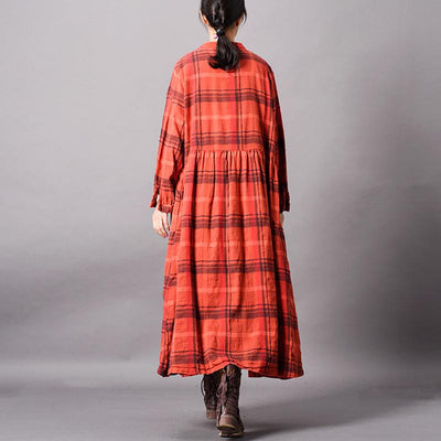 Simple Casual Lace Splicing PLaid Coat
