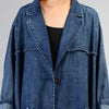 Simple Casual Solid Color Denim Trench Coat