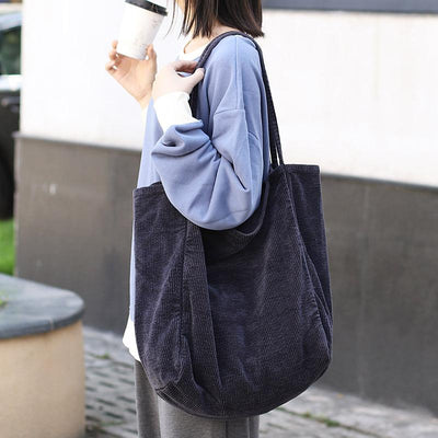 Simple Solid Color Corduroy Vintage Shoulder Bag
