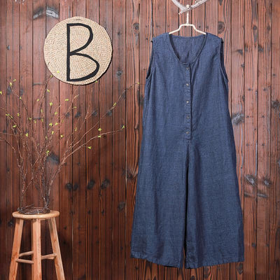 Single Breasted Solid Color Loose Jumpsuit