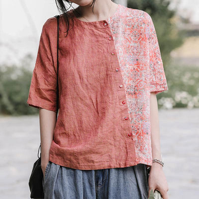 Small Plaid Spliced Floral Printed Loose T-Shirt