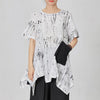 Soft Spliced Pleated Irregular Hem Loose T-Shirt