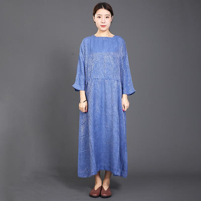 Solid Color Adjustable Waist Casual Loose Dress