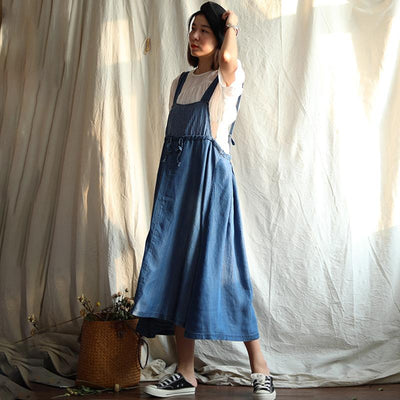 Solid Color Drawstring Denim Suspender Dress