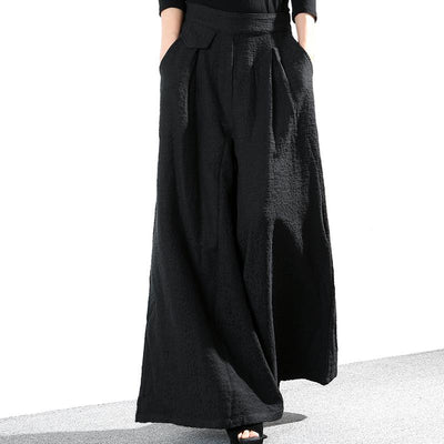 Solid Color Loose Elegant Thick Wide Leg Pants