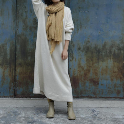 Solid Color Thick Warm Knit Dress