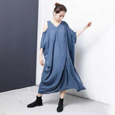 Solid V-Neck Irregular Casual Women Dress